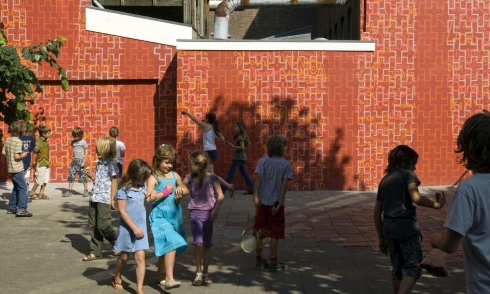 Antoniusschool,Lastageweg,Amsterdam Muurschildering. Ontwerp en uitvoering: Peter Zegveld, Amsterdam https://www.peterzegveld.nl